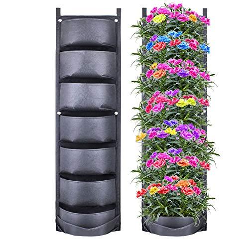 CNNIK Fioriera Da Giardino, 7-Tasca Verticale Parete Appeso Fioriere Per Giardino Cortile Ufficio Casa Decorazione, Le Più Nuove E Più Grandi Piante/Fiori/Verdure/Frutta Piantatrici