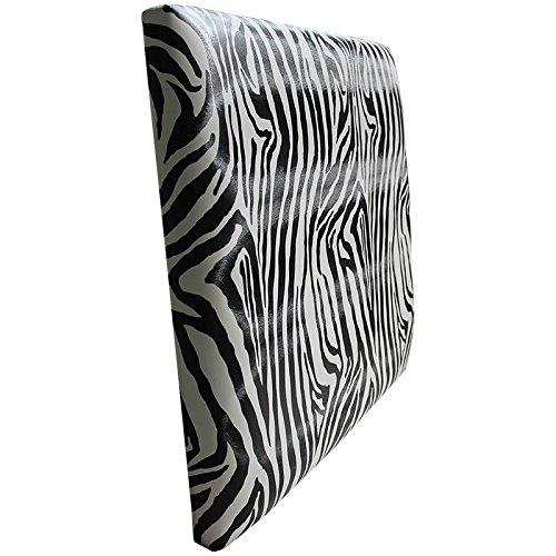 Ventadecolchones - Cabecero Modelo Lisse tapizado en Polipiel Zebra Blanco y Negro Medidas 180 x 70 cm (para Camas de 160 ó 180 cm)