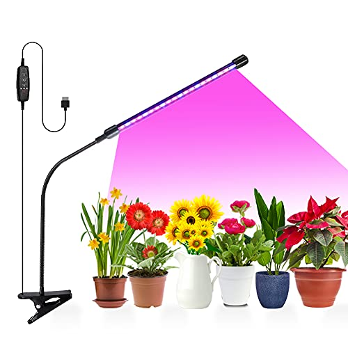 Plant Grow Lights, LED Growing Lamps for Indoor Plants, 20W Full Spectrum Adjustable Gooseneck 9 Dimmable Levels 3 Modes Timing Function, 1 Head