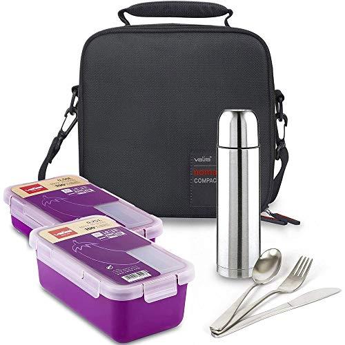 Kit Bolsa Porta Alimentos Valira Bricolemar Compact con 2 Taper Morados y...