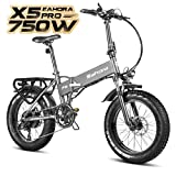 Eahora X5 750W Folding Fat Tire Electric Bicycle 48V 12ah Commuter Electric Bike for Adults Front Suspension, 20 Inch Ebike with Power Regeneration, Electric Lock, Shimano 7 Speed Gears