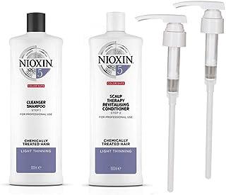 Champú limpiador y acondicionador revitalizador para el cuero cabelludo Nioxin System 5. 2 litros en total con dispensador
