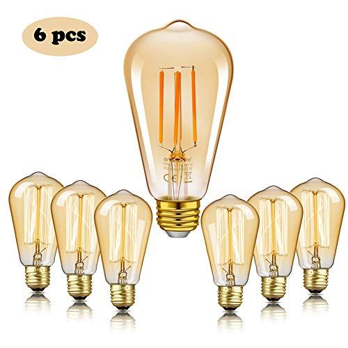 Edison Bombilla Retro,Enshant Edison Bombilla Vintage E27 LED Bombilla de...