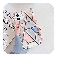 Csddg メッキライン幾何学的な大理石の正方形の電話ケースiPhone12 Mini 11 Pro Max XR X XS Max 7 8Plusケースソフト電話カバー-h-For iPhone 12Mini
