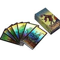 78PCSニュービジョンシャインウェイトタロットカード日本語スペイン語フランス語単語区切り運命ホログラフィックタロットカードゲームボードゲーム女の子のためのゲーム
