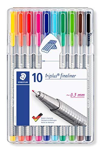 STAEDTLER triplus 334 SB10 Fineliner Set mit 10 brillanten Farben, hohe Qualität, superfeine, Linienbreite ca. 0.3 mm, aufstellbare STAEDTLER-Box