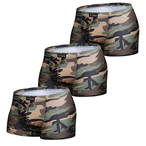 YFD YUFEIDA Herren Boxershorts Sexy Unterhose Camouflage Low Rise Briefs Unterwäsche Trunks 3er Pack, Tarnung, L