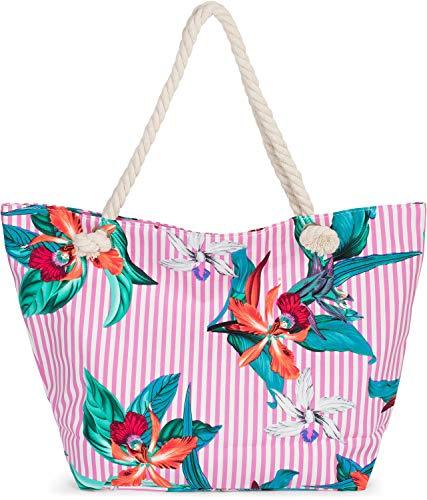 styleBREAKER Damen XXL Strandtasche mit Streifen Blumen Blüten Print und Reißverschluss, Schultertasche, Shopper 02012278, Farbe:Pink-Weiß