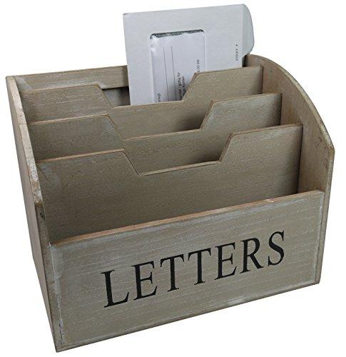 khevga Briefablage aus Holz - Landhausstil Dokumentenhalter Vorlagenhalter