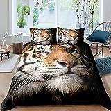 Greneric Tiger Trösterbezug 3D Tiger Print Bettbezug Big Cat Bettwäsche Set für Kinder Jungen Mädchen Juvenile Safari Afrikanische Wildtier Tagesdecken Bezug mit 2 Kissenbezuge 220x240 Brown Black