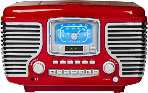 Crosley Corsair Tabletop Am/FM Bluetooth Radio with CD Player and Dual Alarm Clock, Red