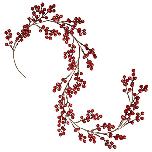Greentime Christmas Red Berry Garland, Artificial Burgundy Red Pip Berry Artificial Berry Garland for Indoor Outdoor Hone Decoration for Winter Christmas Holiday New Year Decor