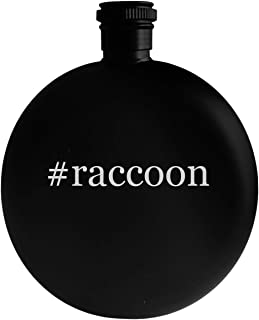 #raccoon - 5oz Hashtag Round Alcohol Drinking Flask, Black