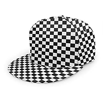 YEGFTSN Baseball Cap Men Women - Black White Checkerboard Adjustable 3D Printed Snapback Flat Bill Hip Hop Hat