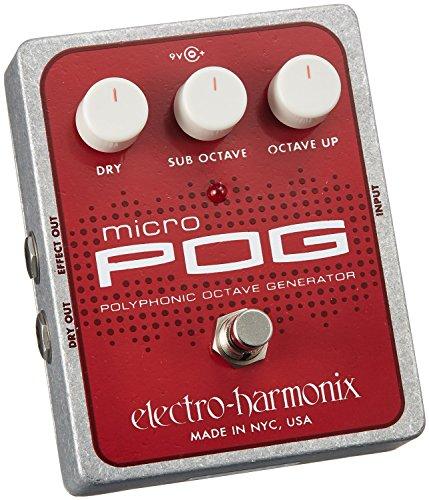 electro-harmonix Micro POG Micro POG Pedal - Pedal octavador para guitarra, color plateado