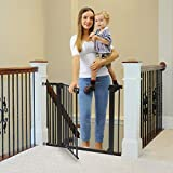 Cumbor 40.6'Dog Gates for Stairs and Doorways, Extra Wide Dog Gate for The House,Durable Easy Walk Thru Baby Gate. Includes 4 Wall Cups, 2.75-Inch and 5.5-Inch Extension, Black