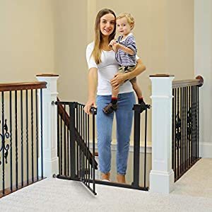 Cumbor 40.6″Dog Gates for Stairs and Doorways, Extra Wide Dog Gate for The House,Durable Easy Walk Thru Baby Gate. Includes 4 Wall Cups, 2.75-Inch and 5.5-Inch Extension, Black