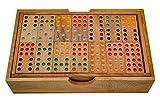 LOGOPLAY Domino Doppel 9 - Legespiel - Gesellschaftsspiel aus Holz mit 56 Spielsteinen -