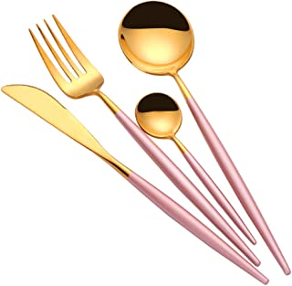 TD HOME 24 pieces Cutlery Set Mirror Polish Stainless Steel Flatware Silverware Set Service for 6 Pink & Gold