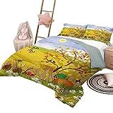Juego de edredón de ropa de cama de otoño Paisaje rural con mariposas solares Aves y margaritas en el campo Concepto de guardería para niños Juego de funda nórdica de cuna Multicolor con 2 fundas de a