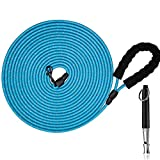 Heavy Duty Long Dog Leash for Training, Rope Dog Long Leash Tie Out Cable,10 FT Dog Lead for Dog Run Outside,Reflective Check Cord Lead for Dog Backyard or Camping,Bonus a Dog Training Whistle