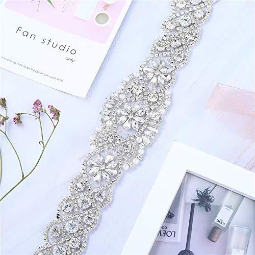 Vestido de noiva com aplique de cinto com cristais, strass, pérolas, contas, decorações, feito à mão, brilhante, elegante, costura fina ou conserto para mulheres, vestido de noite, formatura, Prata, 1