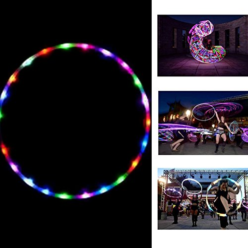 Hula Hoop, intermitente LED iluminado Twist Hula Cosmic Glow Hoola Hoop para adultos niños, luz brillante Hula aros 90 cm