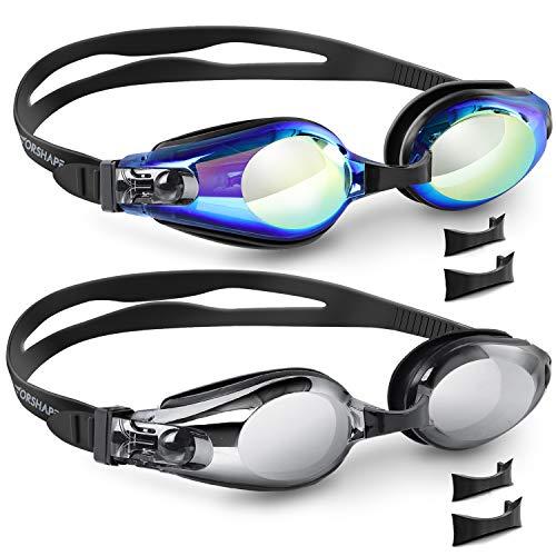 Vorshape 2 Pack Swim Goggles, Swimming Goggles Flat Lenses Adult Men Women Youth (Aqua & Bright Sliver)