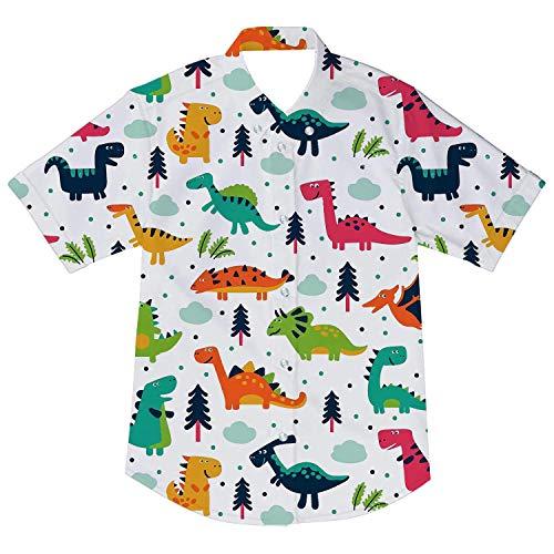 Toddler Boys Dinosaur Dress Shirt Cartoon Clothes Cool Print Tees Tops Kids White Button Up Shirt Tops 3-4T