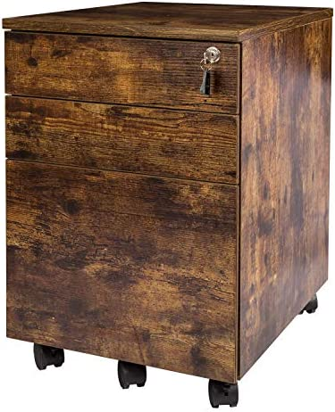 TOPSKY 3 Drawers Wood Mobile File Cabinet Fully Assembled Except Casters Rustic Brown Letter product image