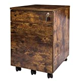 TOPSKY 3 Drawers Wood Mobile File Cabinet Fully Assembled Except Casters (Rustic Brown Letter Size)