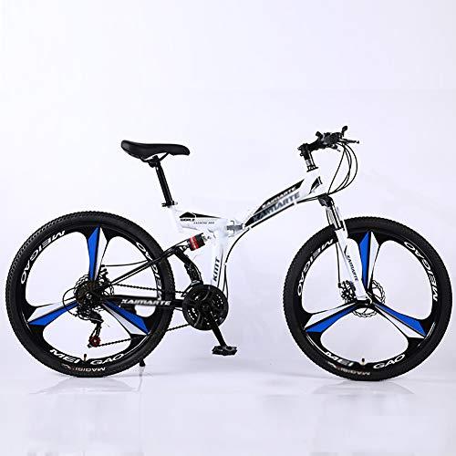 TOPYL Alto-Acero Al Carbono Softtail Bicicleta De Suspensión,Bicicleta De Suspensión con Suspensión Delantera Asiento Ajustable,24 Pulgadas Hombres's Bicicleta De Montaña Blanco 24',24-Velocidad