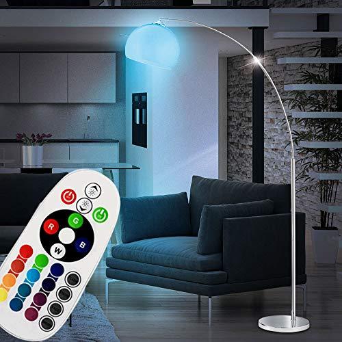 Bogenlampe silber Bogenstehlampe Wohnzimmer Stehleuchte Bogenleuchte, beweglicher Kugelschirm Farbwechsel dimmbar Fernbedienung, RGB LED 9W 806lm 3000K, H 180 cm