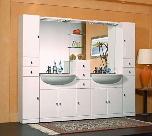 Bagno Italia Badezimmermöbel Cleo 30+70+30+70+30 Halbeinbau mit Doppel Waschbecken und Spiegel