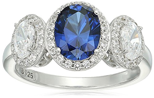 Platinum-Plated Sterling Silver Oval Shaped Created Blue Sapphire and Swarovski Zirconia 3 Stone Halo Ring, Size 9