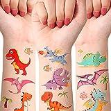 10 Sheets Dinosaur Temporary Tattoos Waterproof Cute Cartoon 3D Tattoos Personality Tyrannosaurus Animal Theme Birthday Party Supplies for Boy Girl Dinosaur Theme Party Favor, T-rex Decor