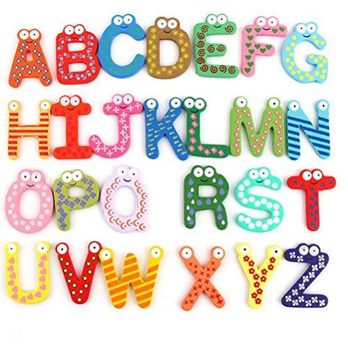 PiniceCore 26pcs refrigerador de la Historieta imán de Madera del Rompecabezas de Juguete del niño del bebé de Juguete inglés Educación Alfabeto de 26 Letras