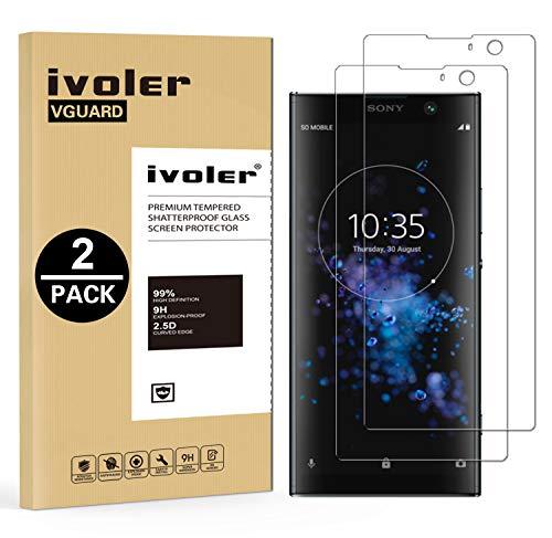 ivoler [2 Unidades] Protector de Pantalla para Sony Xperia XA2 Plus, Cristal Vidrio Templado Premium