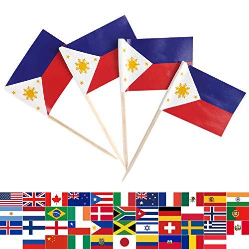 JBCD 100 Stück Philippinen-Flagge Zahnstocher Filipino Flaggen Cupcake Topper Dekorationen Cocktail Zahnstocher Flagge Kuchen Topper Picks Mini Mini Flagge Cupcake Picks Sticks