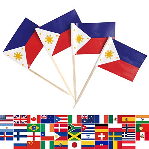 JBCD 100 Pcs Philippines Flag Toothpicks Filipino Flags Cupcake Toppers Decorations, Cocktail Toothpick Flag Cake Topper Picks Mini Small Flag Cupcake Pick Sticks