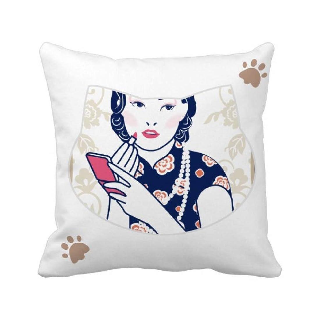 成分旅行代理店スリラー中国文化のピンクの女性 枕カバーを放り投げる猫広場 50cm x 50cm