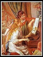 DIY 数字油絵 数字塗り絵 大人の子供のためのギフト デジタル油絵 数字キットでペイント 初心者と大人がキャンバスに番号でペイントすることを目的 - ピエールオーギュストルノワール—ピアノに寄る少女たち