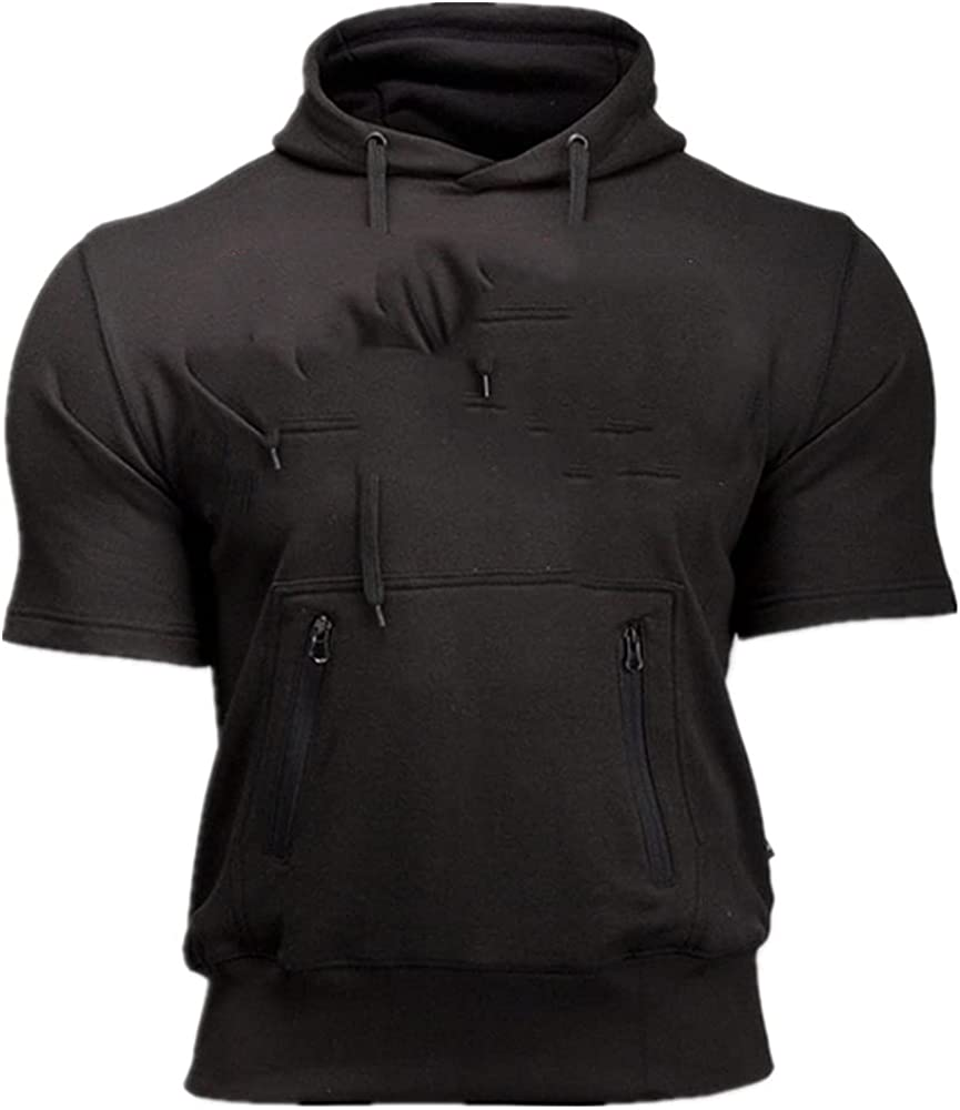 Men's print sport casual short sleeved hoodie vest running training muscles