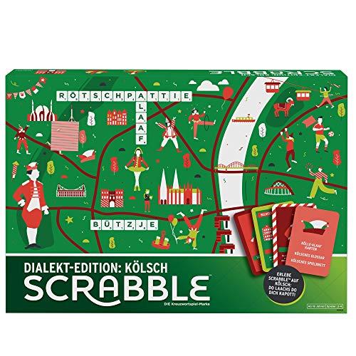 Mattel Games GGN23 - Scrabble Dialekt Edition Köln Wörterspiel und Brettspiel geeignet für 2 - 4 Spieler, Gesellschaftsspiele und Wortspiele ab 16 Jahren