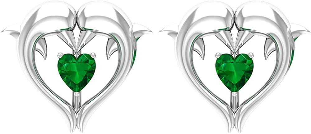 1/4 CT Dolphin Heart Stud Earrings with Created Emerald (Heirloom Quality), Screw back