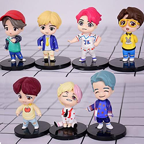 LINWEI 7pcs Mini Idol Doll Dolls Youth League Figure Cartoon Toy Dolls Around Anime Car Cake Decoration