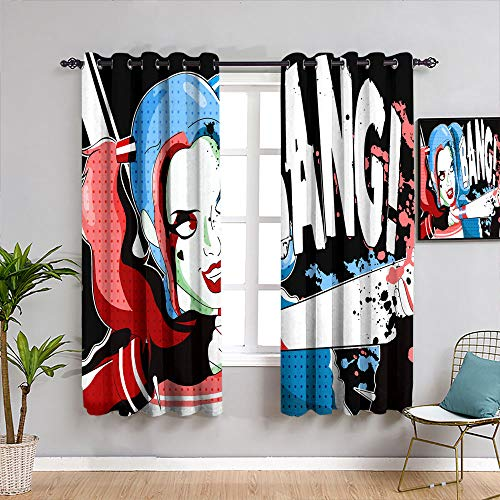 Weilan1999 Harley-Quinn Cortinas térmicas aislantes para sala de estar de niño cortina de ventana tela de 42 x 45 pulgadas, poliéster y mezcla de poliéster, Patrón_09, W52 x L84 Inch