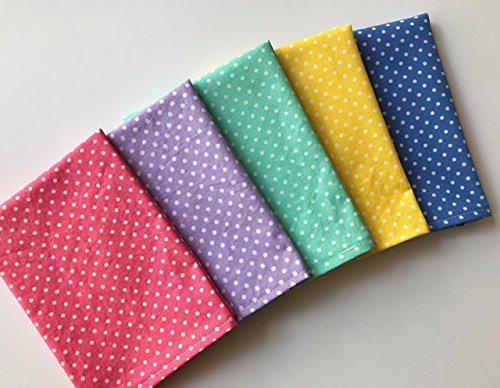 "Polka Dot Lunchbox Small Napkins, 12""x12"" Cotton Single Ply Napkins, Set of 5"