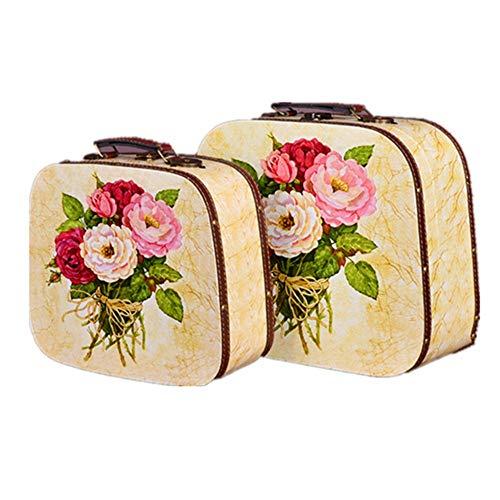 Jtoony-HO Valigia Vintage Set di 2 Valigie Vintage, Cassettiera del Tesoro Vintage Valigia Storage Box Valigia Vintage (Dimensioni: L + Small), MDF, Multicolore, Large+Small
