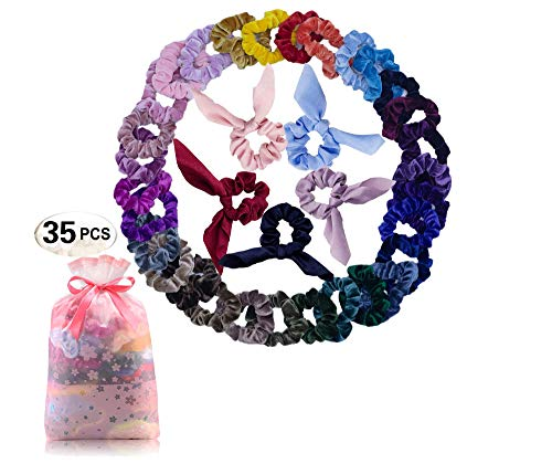 YOUN 35 PCS Premium Velvet Hair Scrunchies/Hair Scrunchy Elastic Bands/Hair Ties Ropes for Girls and Women Hair Accessories (35 Assorted Colors )